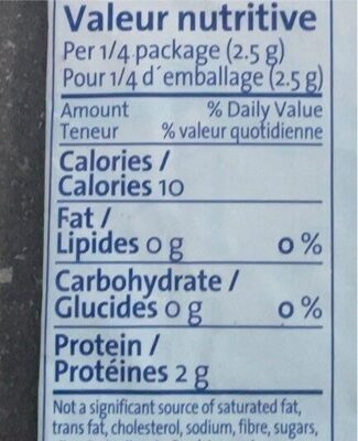 Gelatine - Informations nutritionnelles - en