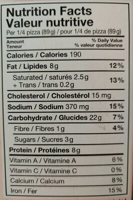 Ritorante pizza pollo - Informations nutritionnelles
