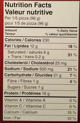 Giuseppe pizzeria - Informations nutritionnelles