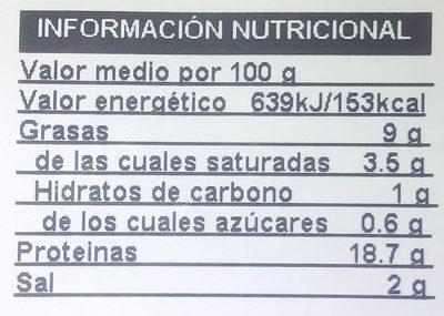 Jamon cocido al horno - Información nutricional - es
