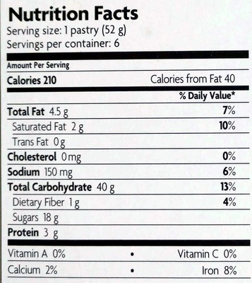 Unfrosted Buncha Blueberries Toaster Pastries - Nutrition facts