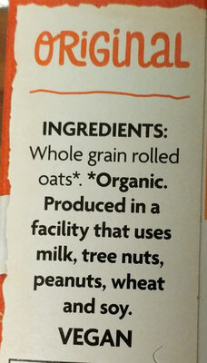 Organic hot oatmeal - Ingredients - en