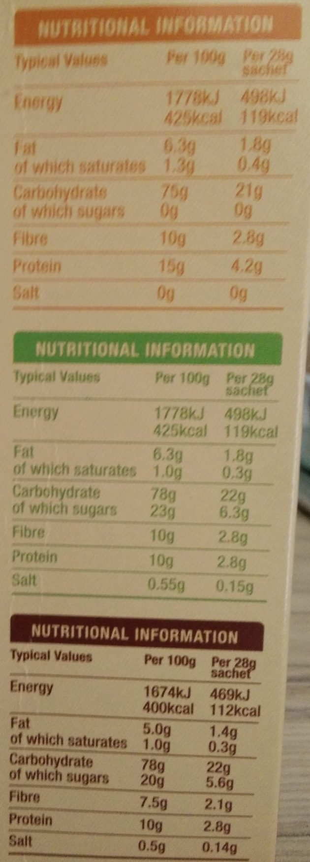 Hot & Steamy Porridge Oats - Nutrition facts