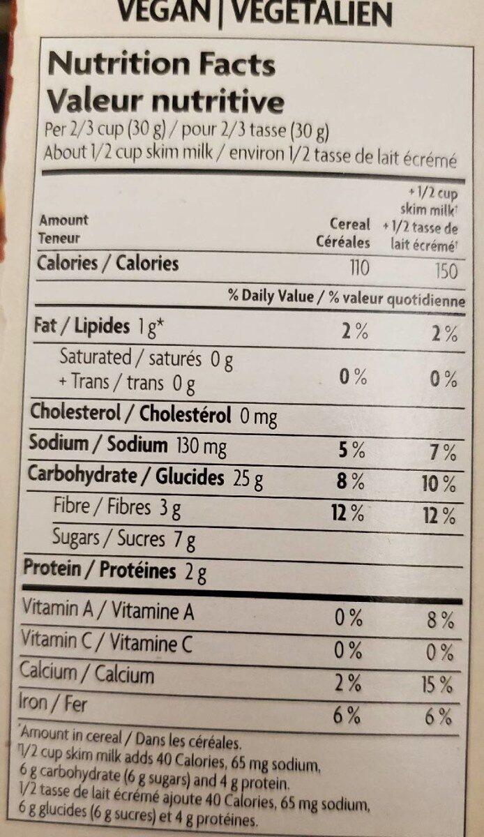 Céréales Sunrise (croquant à L'érable) - Informations nutritionnelles - fr