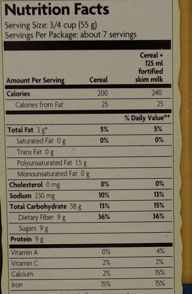 Organic optimum power blueberry cinnamon flax - Nutrition facts - en
