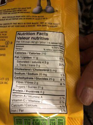 M&M'S - Informations nutritionnelles - en