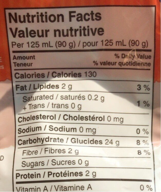 Bistro Express bruns à grains entiers - Informations nutritionnelles - fr