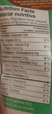 Riz au jasmin Uncle Ben's - Informations nutritionnelles - fr