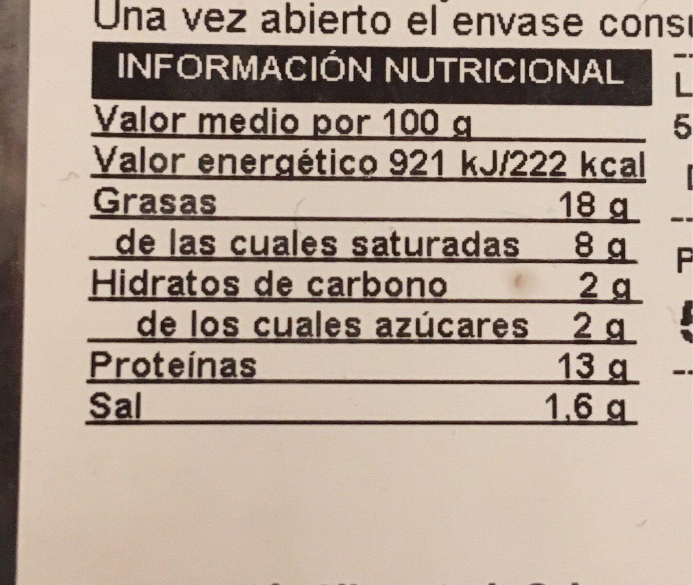 Butifarra con setas - Nutrition facts - es