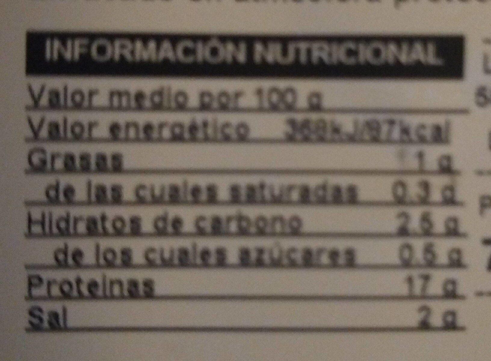 Finíssim de pit de gall d'indi - Informació nutricional