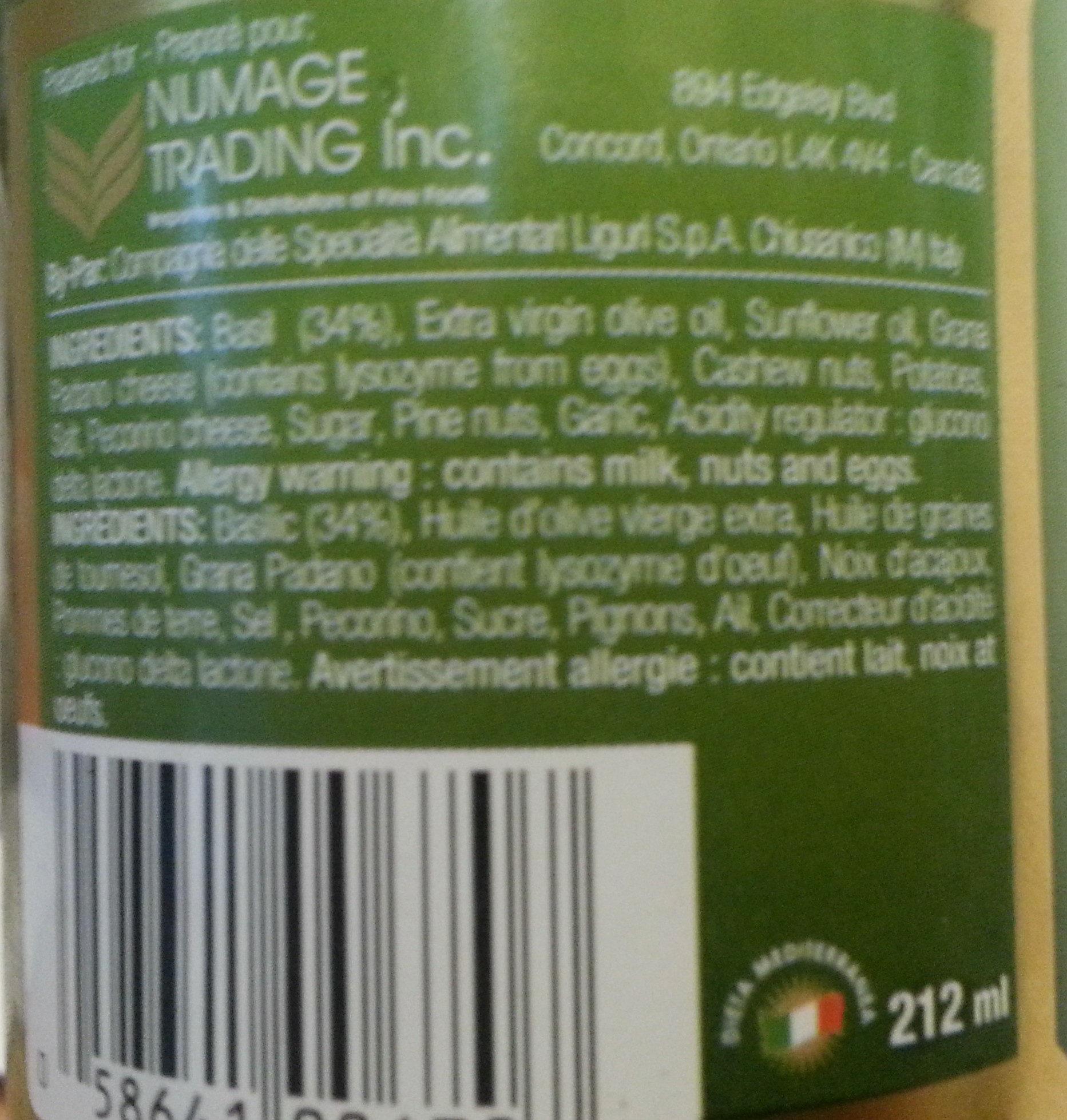 Pesto alla genovese - Ingrédients - en