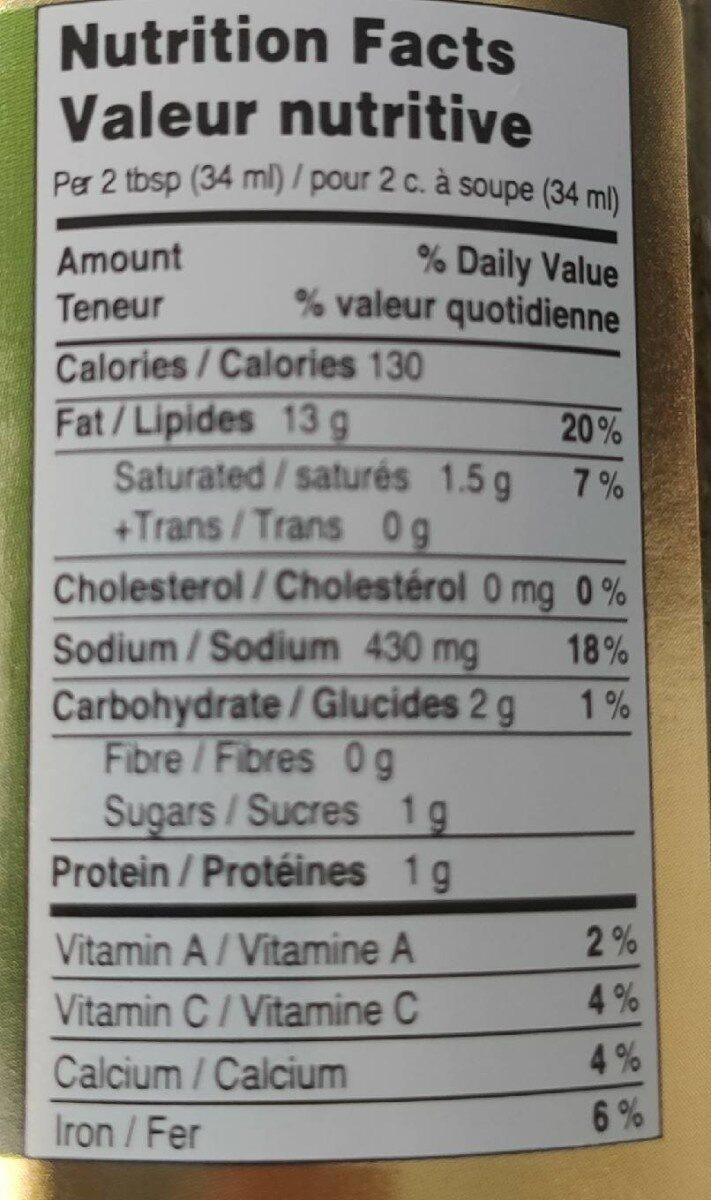 Pesto alla genovese - Informations nutritionnelles - en