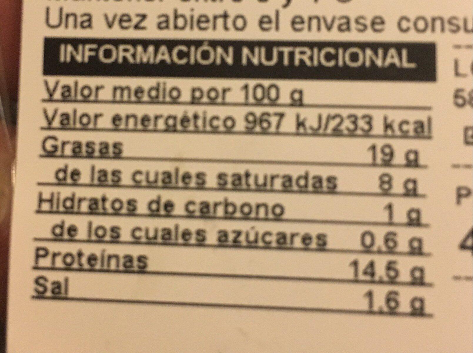 Butifarra fresca con cebolla - Información nutricional