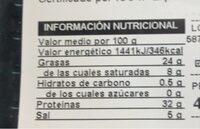 Paleta de cebo iberica - Valori nutrizionali - es