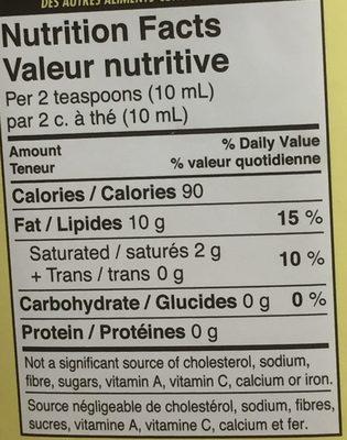 Huile d'arachide - Nutrition facts - fr