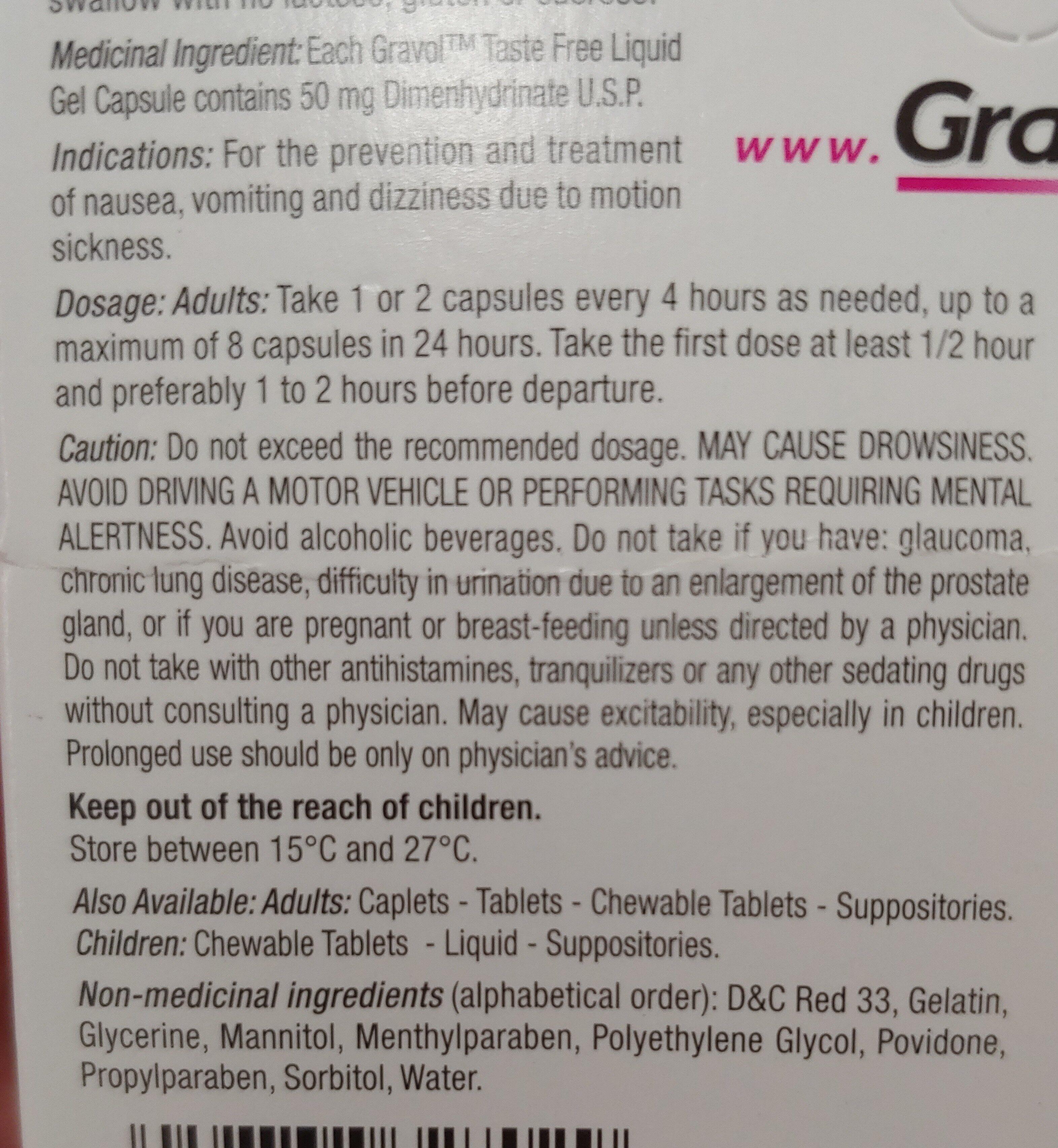 Gravol Liquid Gel Capsules - Ingredients - en