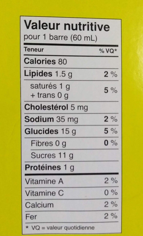 Barre de fudge - Informations nutritionnelles - fr