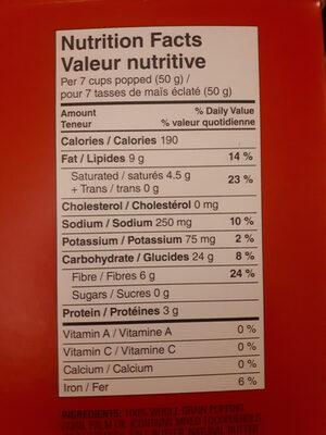 Pop Up Bowl - Informations nutritionnelles