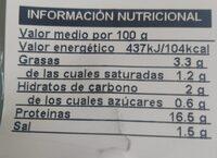 Finísimo jamón cocido menos sal - Valori nutrizionali - es