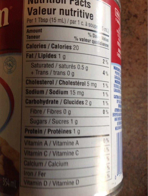 Carnation milk - Informations nutritionnelles - fr