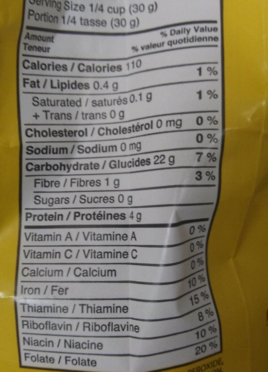 All purpose flour - Informations nutritionnelles - fr
