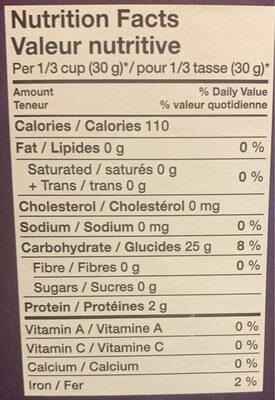 Riz - Informations nutritionnelles - fr