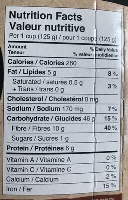 Riz Brun - Nutrition facts - en