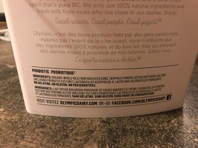 Organic Yogurt Plain 3.5% M. F. - Ingrédients