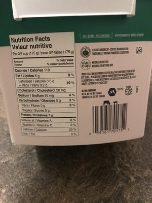 Organic Yogurt Plain 3.5% M. F. - Informations nutritionnelles