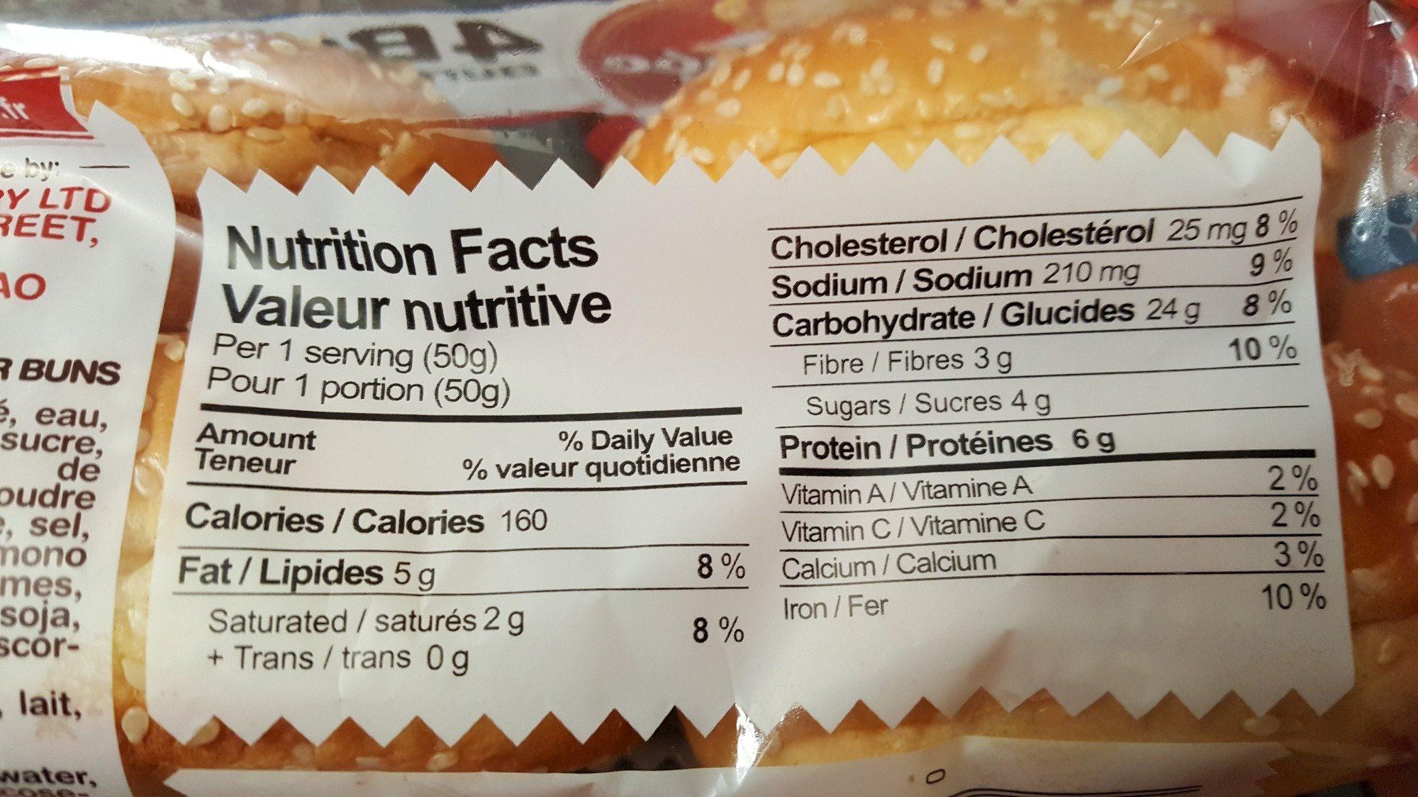 La Fournee doree Sesame Brioche Burger Buns - Voedingswaarden