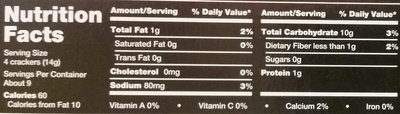 Table Water Crackers - Nutrition facts