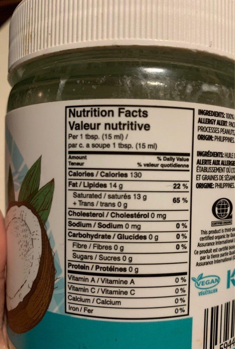 Huile de coco biologique - Informations nutritionnelles - fr