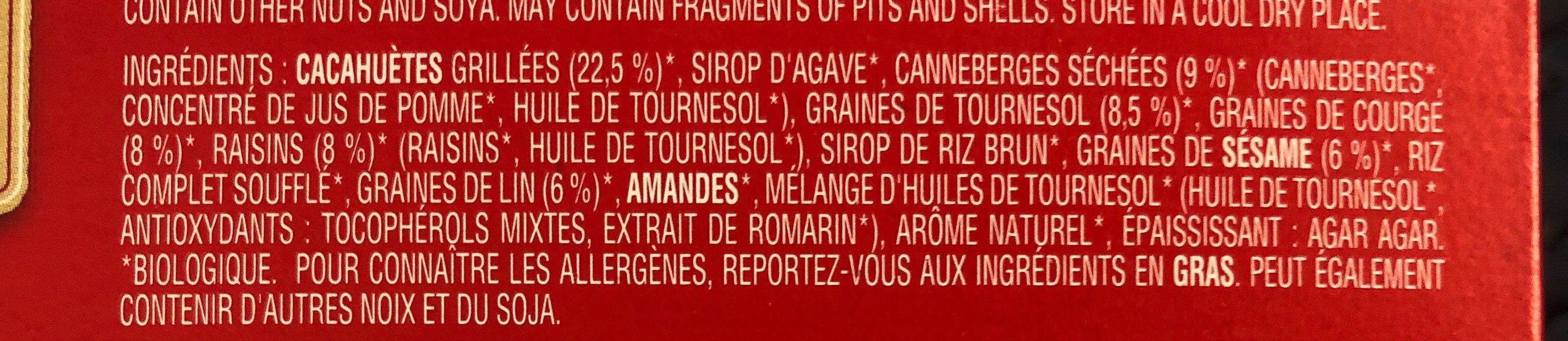 Cranberry Snack Bars - Ingrédients - fr