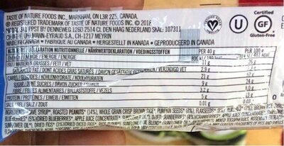 Taste Of Nature - Blueberry Granenreep - Nutrition facts - fr
