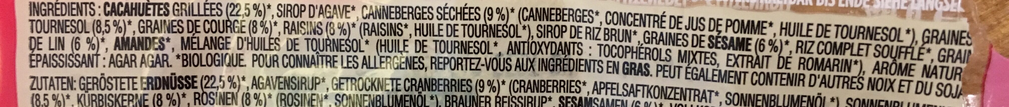 Nature Cranberry Organic Fruit & Nut Bar - Ingrediënten - fr