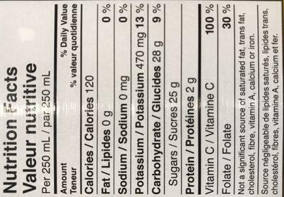Jus D'orange 100% Sans Pulpe - Ingredients - fr