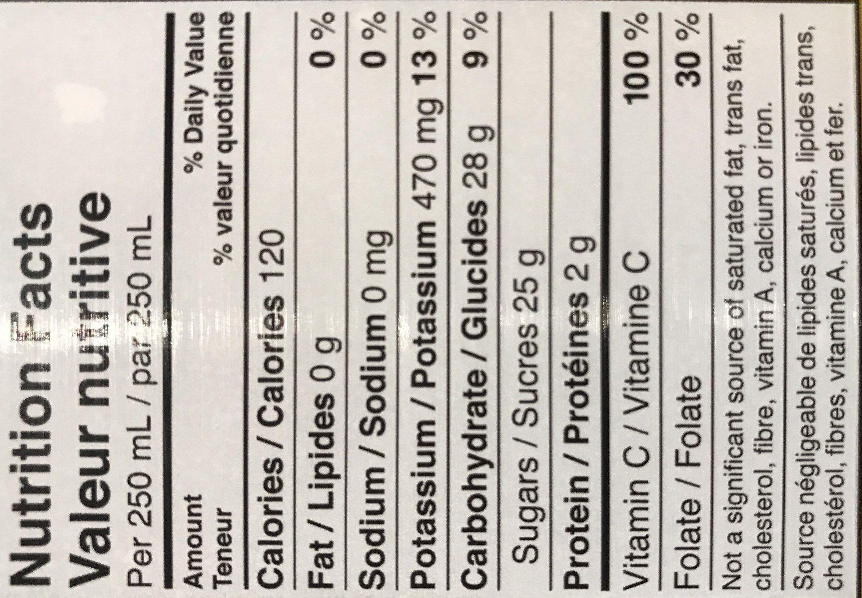 Jus D'orange 100% Sans Pulpe - Ingrediënten - fr