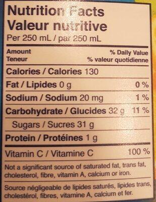 Five Alive - Informations nutritionnelles - en