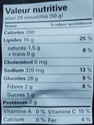 Croustilles à l'ancienne - Informations nutritionnelles - fr