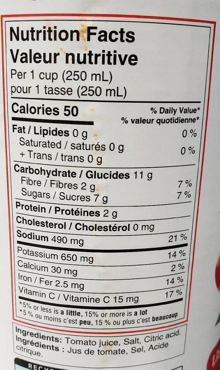 Jus de tomate - Nutrition facts - fr