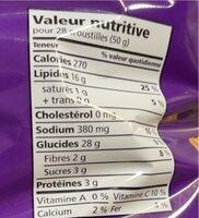 Ripples ondulees assaisonnees - Informations nutritionnelles - en