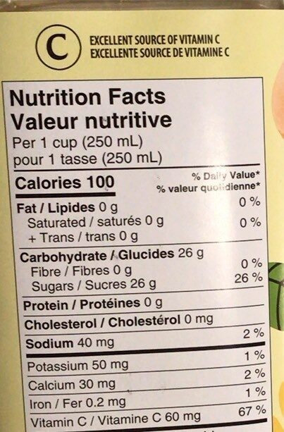 White Cranberry Cocktail - Nutrition facts - en