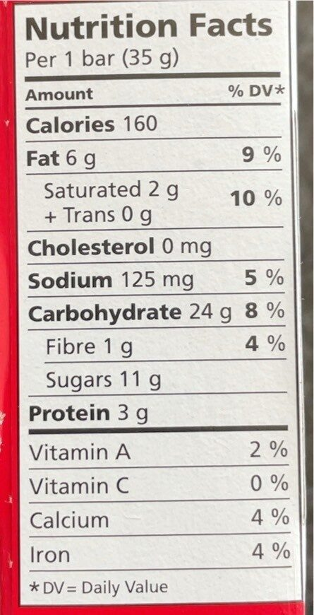 Sweet & Salty Almond Granola Chewy Bars - Nutrition facts - fr