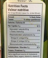 Organic canola oil - Huile de canola biologique - Informations nutritionnelles - fr