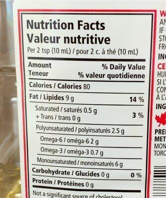 Huile de canola - Informations nutritionnelles - en