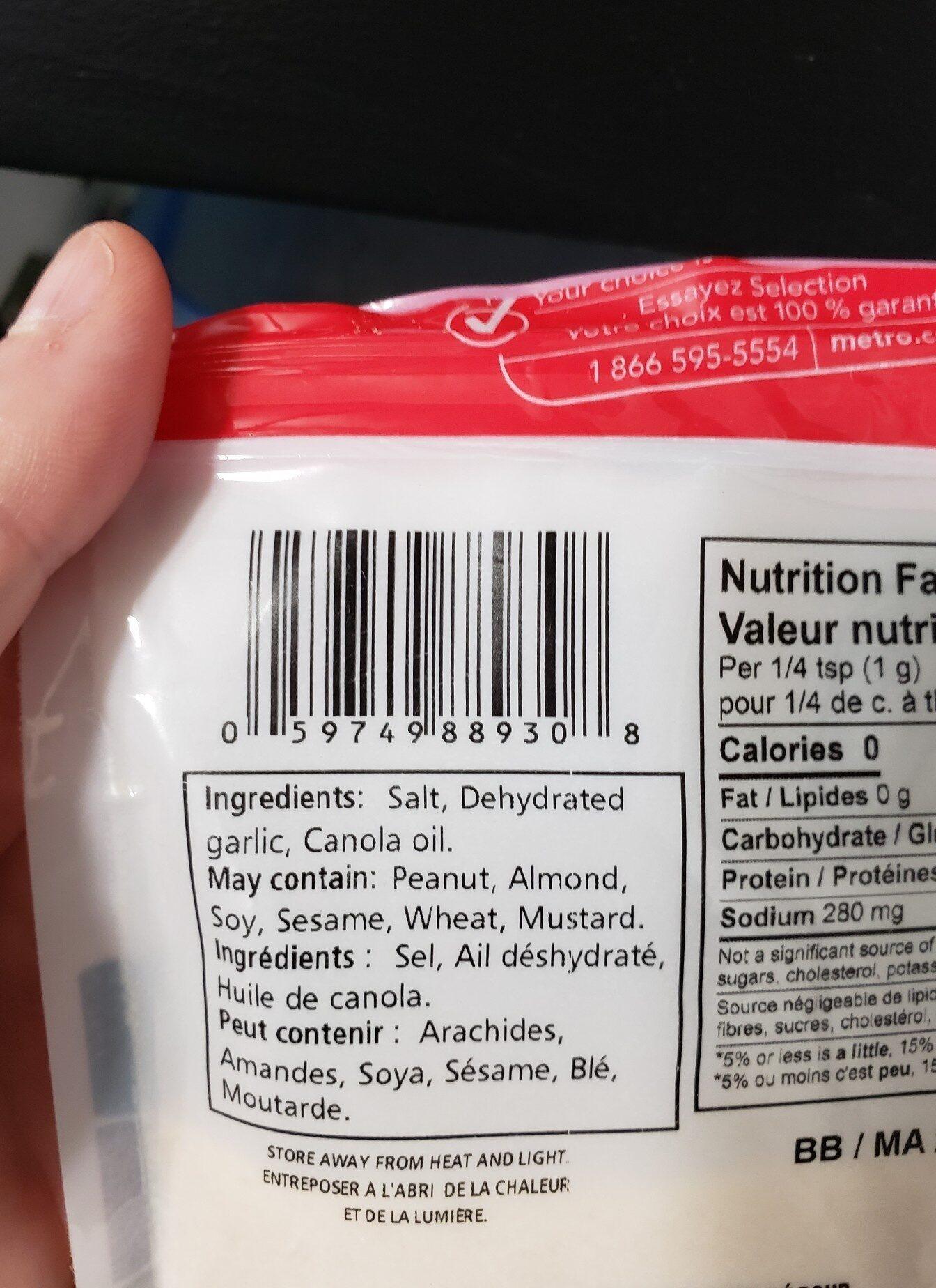 garlic salt - Ingredients - en