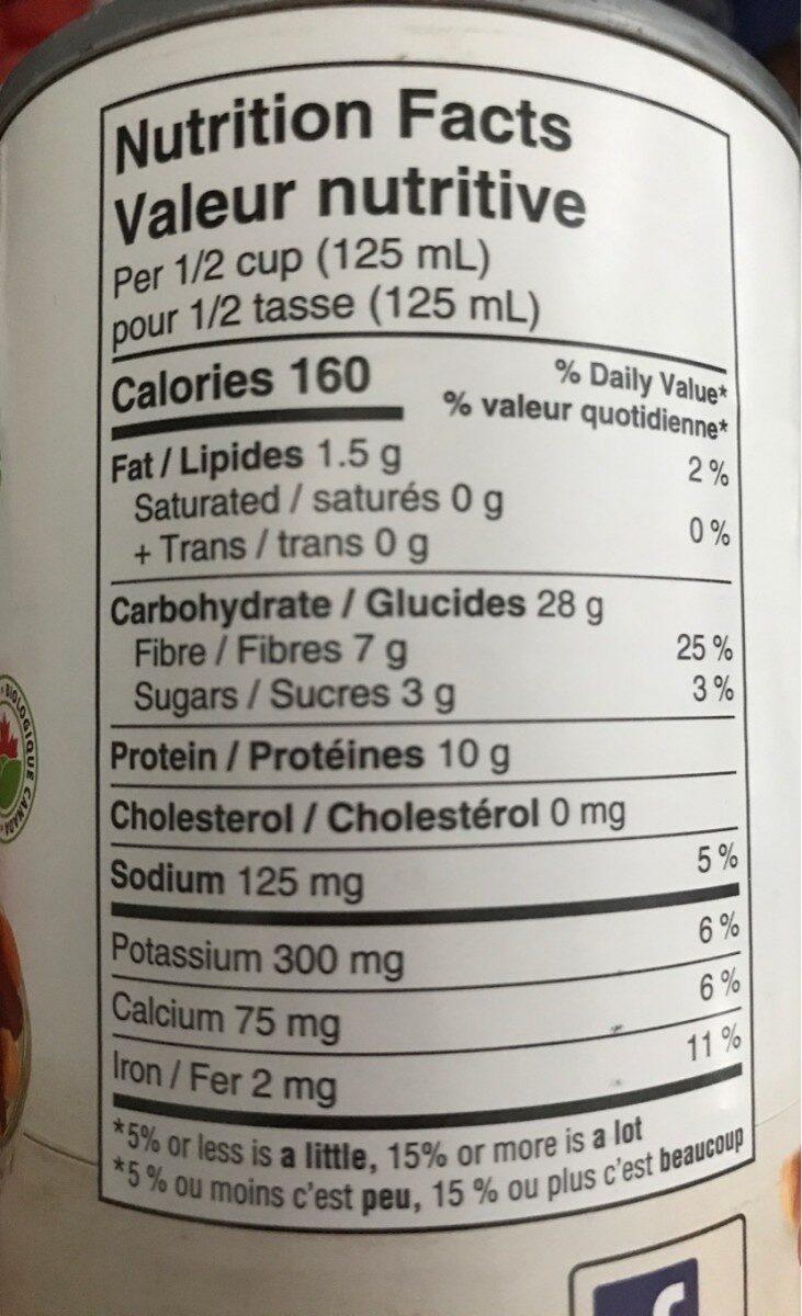 Haricots mélangés - Informations nutritionnelles - fr