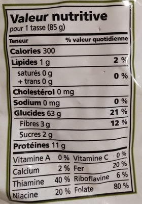 cavatappi - Informations nutritionnelles - fr
