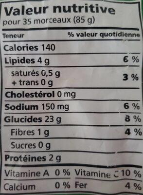 Pommes de terre frites - Nutrition facts - fr