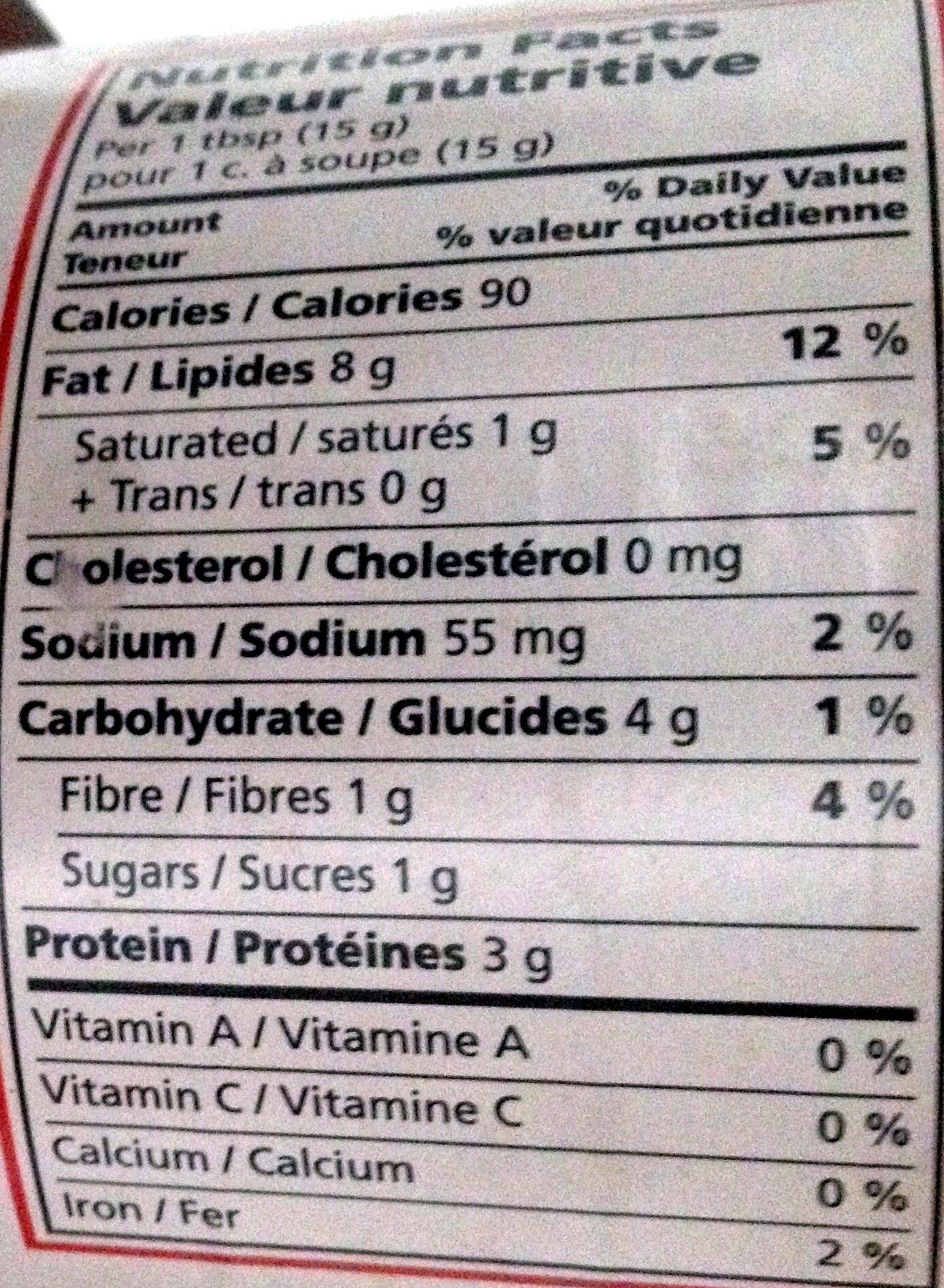 Beurre de Cacahuètes Croustillant - Nutrition facts